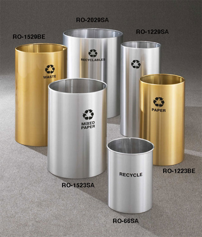 RecyclePro Open Top All Satin Aluminum or Satin Brass